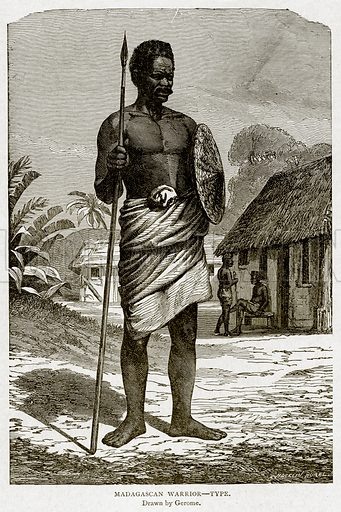 Madagascan Warrior--Type. Illustration from With the World's People by John Clark Ridpath (Clark E Ridpath, 1912).