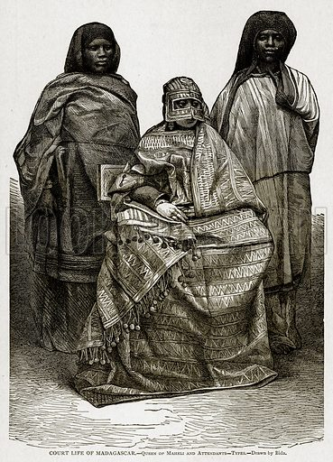 Court Life of Madagascar. – Queen of Maheli and Attendants – Types. Illustration from With the World's People by John Clark Ridpath (Clark E Ridpath, 1912).