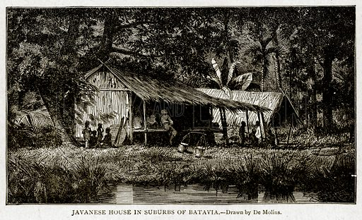 Javanese House in Suburbs of Batavia. Illustration from With the World's People by John Clark Ridpath (Clark E Ridpath, 1912).