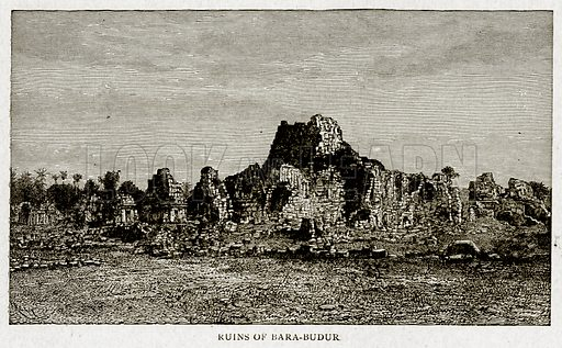 Ruins of Bara-Budur. Illustration from With the World's People by John Clark Ridpath (Clark E Ridpath, 1912).