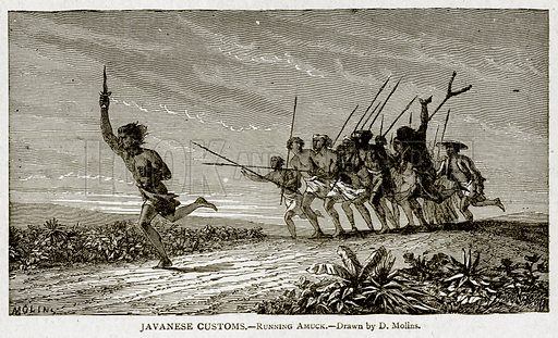 Javanese Costoms. – Running Amuck. Illustration from With the World's People by John Clark Ridpath (Clark E Ridpath, 1912).