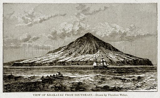 View of Krakatau from Southeast. Illustration from With the World's People by John Clark Ridpath (Clark E Ridpath, 1912).