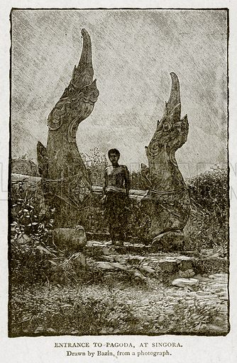 Entrance to Pagoda, at Singora. Illustration from With the World's People by John Clark Ridpath (Clark E Ridpath, 1912).