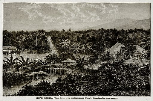 View in Sumatra. – Telok-Betong after the Earthquake. Illustration from With the World's People by John Clark Ridpath (Clark E Ridpath, 1912).
