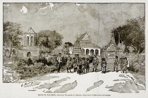 Scene in Malaysia.--Buddhist Monastery at Singora. Illustration from With the World's People by John Clark Ridpath (Clark E Ridpath, 1912).