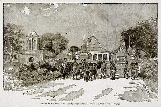 Scene in Malaysia. – Buddhist Monastery at Singora. Illustration from With the World's People by John Clark Ridpath (Clark E Ridpath, 1912).