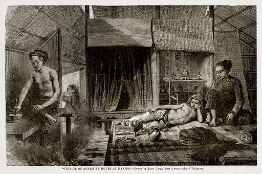 Interior of Annamite House at Nakhor. Illustration from With the World's People by John Clark Ridpath (Clark E Ridpath, 1912).