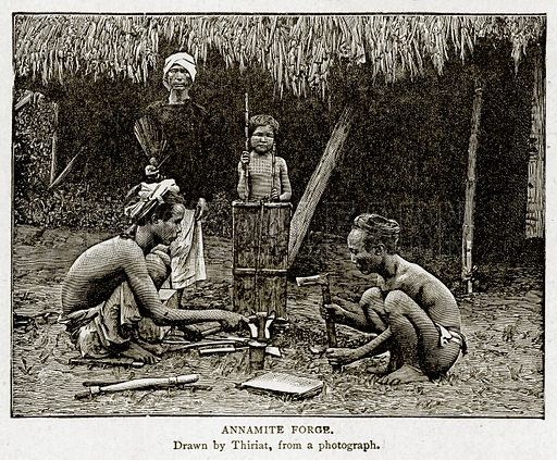 Annamite Forge. Illustration from With the World's People by John Clark Ridpath (Clark E Ridpath, 1912).
