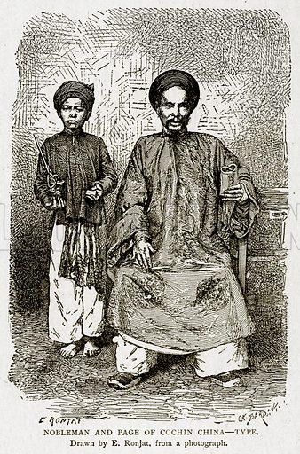 Nobleman and Page of Cochin China--Type. Illustration from With the World's People by John Clark Ridpath (Clark E Ridpath, 1912).