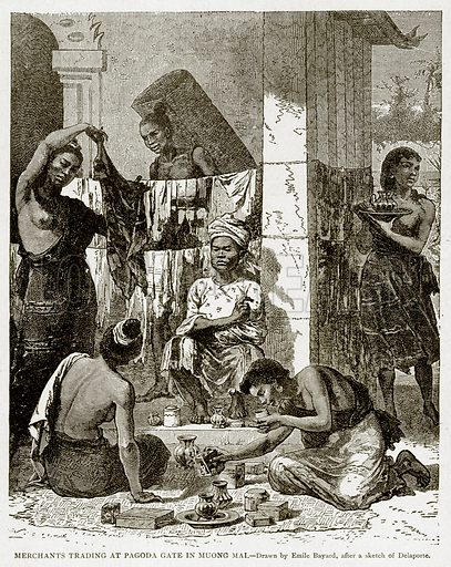 Merchants Trading at Pagoda Gate in Muong Mai. Illustration from With the World