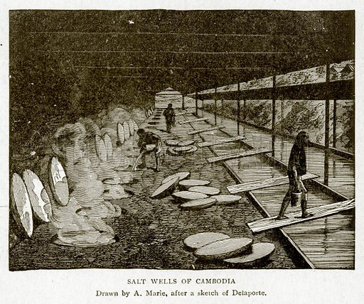 Salt Wells of Cambodia. Illustration from With the World's People by John Clark Ridpath (Clark E Ridpath, 1912).