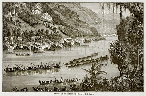 Barges on the Mekong. Illustration from With the World's People by John Clark Ridpath (Clark E Ridpath, 1912).