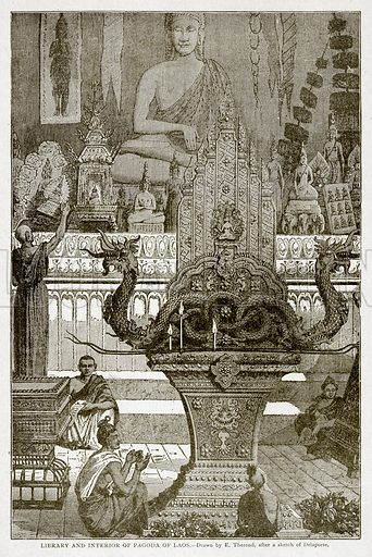 Library and interior of Pagoda of Laos. Illustration from With the World's People by John Clark Ridpath (Clark E Ridpath, 1912).