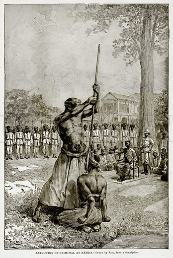 Execution of Criminal at Kedda. Illustration from With the World's People by John Clark Ridpath (Clark E Ridpath, 1912).