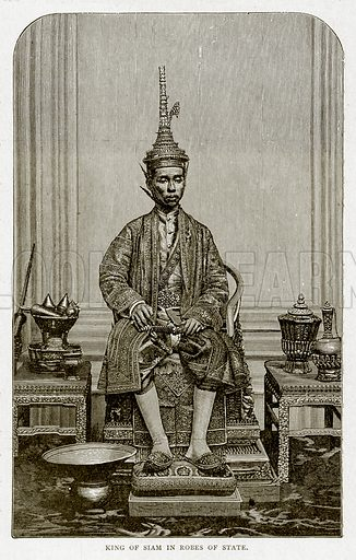 King of Siam in Robes of State. Illustration from With the World's People by John Clark Ridpath (Clark E Ridpath, 1912).