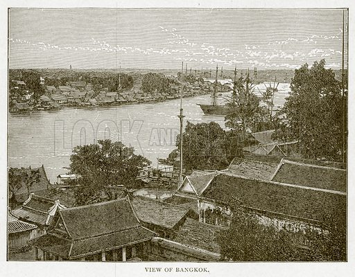 View of Bangkok. Illustration from With the World's People by John Clark Ridpath (Clark E Ridpath, 1912).