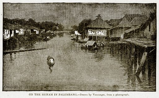 On the Menam in Pallembang. Illustration from With the World's People by John Clark Ridpath (Clark E Ridpath, 1912).