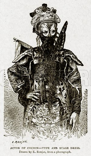 Actor of Cochin--Type and Stage Dress. Illustration from With the World's People by John Clark Ridpath (Clark E Ridpath, 1912).
