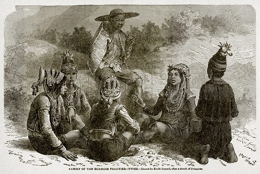 Family of the Burmese Frontier--Types. Illustration from With the World's People by John Clark Ridpath (Clark E Ridpath, 1912).