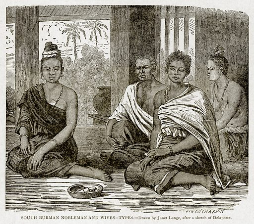 South Burman Nobleman and Wives--Types. Illustration from With the World