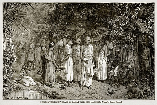 Bonzes (Priests) in Village of Bassac Types and Manners. Illustration from With the World's People by John Clark Ridpath (Clark E Ridpath, 1912).