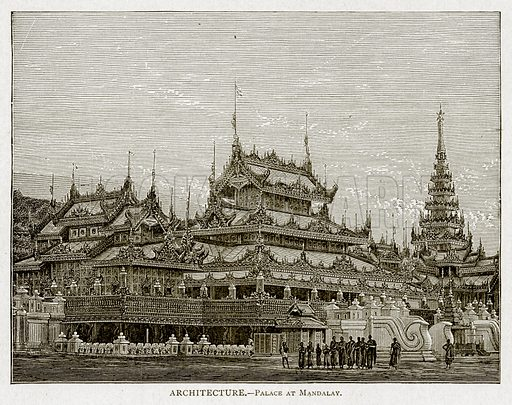 Architecture. – Palace at Mandalay. Illustration from With the World's People by John Clark Ridpath (Clark E Ridpath, 1912).