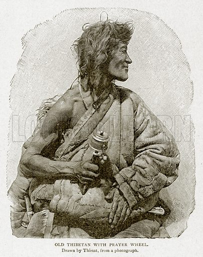 Old Thibetan with Prayer Wheel. Illustration from With the World's People by John Clark Ridpath (Clark E Ridpath, 1912).