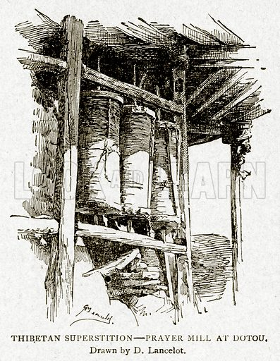 Thibetan Superstition--Prayer Mill at Dotou. Illustration from With the World's People by John Clark Ridpath (Clark E Ridpath, 1912).