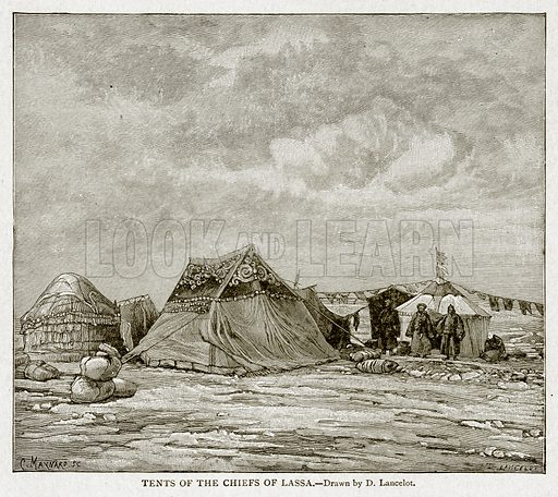 Tents of the Chiefs of Lassa. Illustration from With the World's People by John Clark Ridpath (Clark E Ridpath, 1912).