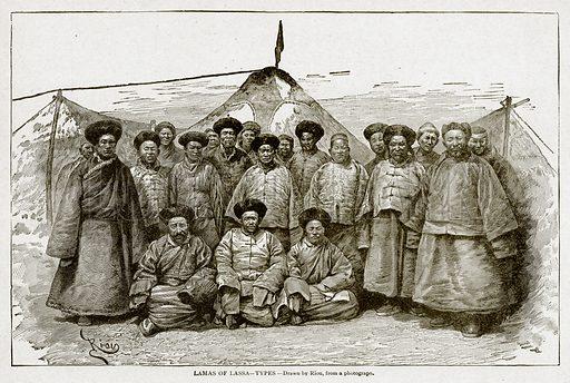 Lamas of Lassa--Types. Illustration from With the World's People by John Clark Ridpath (Clark E Ridpath, 1912).
