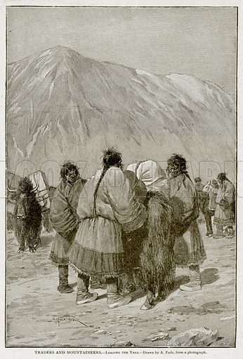 Traders and Mountaineers.--Loading the Yaks. Illustration from With the World's People by John Clark Ridpath (Clark E Ridpath, 1912).
