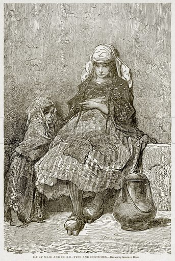 Dairy Maid and Child--Type and Costumes. Illustration from With the World's People by John Clark Ridpath (Clark E Ridpath, 1912).