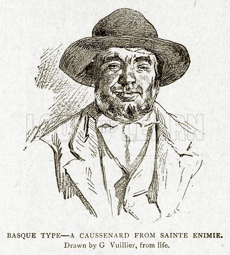 Basque Type--A Caussenard from Sainte Enimie. Illustration from With the World's People by John Clark Ridpath (Clark E Ridpath, 1912).