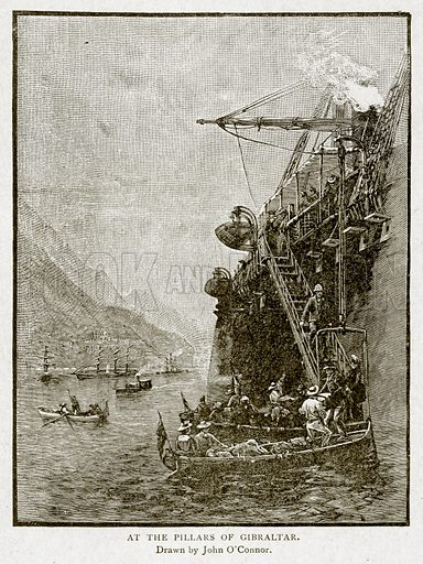 At the Pillars of Gibraltar. Illustration from With the World's People by John Clark Ridpath (Clark E Ridpath, 1912).