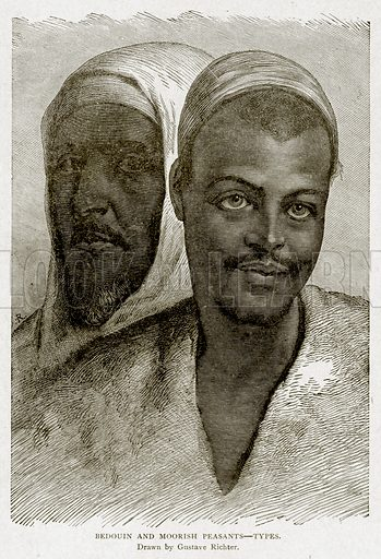 Bedouin and Moorish Peasants--Types. Illustration from With the World's People by John Clark Ridpath (Clark E Ridpath, 1912).