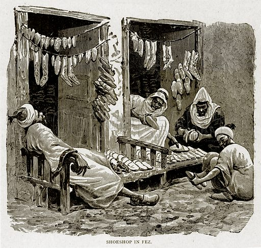 Shoeshop in Fez. Illustration from With the World's People by John Clark Ridpath (Clark E Ridpath, 1912).
