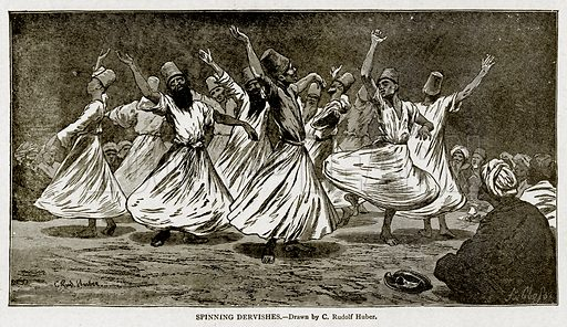 Spinning Dervishes. Illustration from With the World's People by John Clark Ridpath (Clark E Ridpath, 1912).