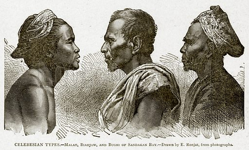 Celebesian Types.--Malay, Biadjaw, and Bughi of Sandakan Bay. Illustration from With the World