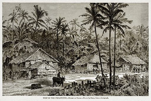 View in the Philippines.--Street in Davao. Illustration from With the World's People by John Clark Ridpath (Clark E Ridpath, 1912).