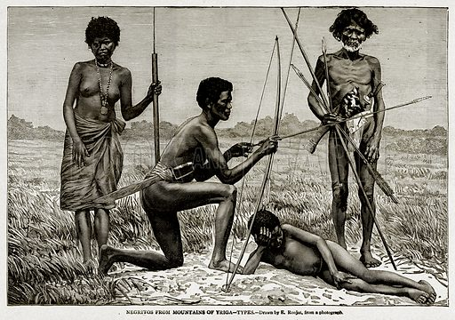 Negritos from Mountains of Yriga--Types. Illustration from With the World's People by John Clark Ridpath (Clark E Ridpath, 1912).