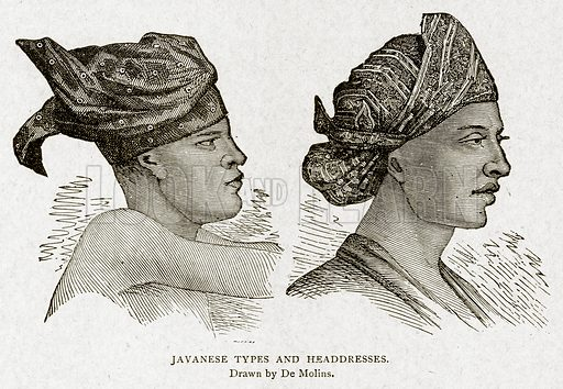 Javanese Types and Headdresses. Illustration from With the World's People by John Clark Ridpath (Clark E Ridpath, 1912).
