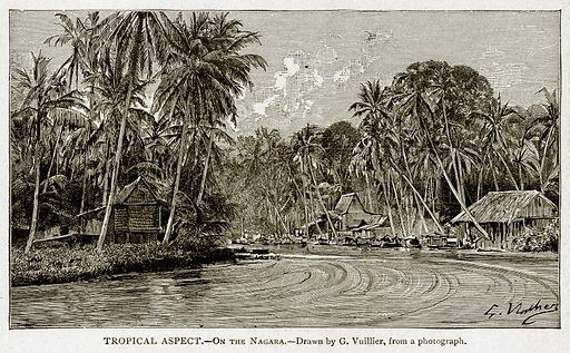 Tropical Aspect.--On the Nagara. Illustration from With the World's People by John Clark Ridpath (Clark E Ridpath, 1912).
