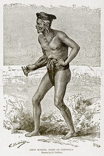 Sibon Mobang, Chief of Cannibals. Illustration from With the World's People by John Clark Ridpath (Clark E Ridpath, 1912).
