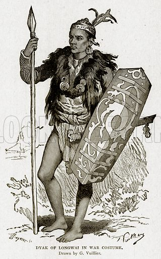 Dyak of Longwai in War Costume. Illustration from With the World