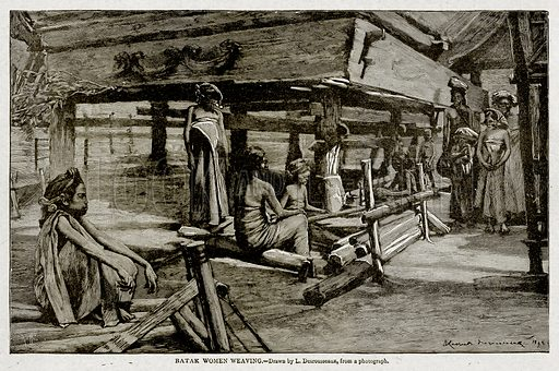 Batak Women Weaving. Illustration from With the World's People by John Clark Ridpath (Clark E Ridpath, 1912).