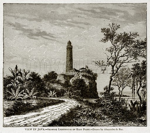 View in Java.--Showing Lighthouse of East Point. Illustration from With the World's People by John Clark Ridpath (Clark E Ridpath, 1912).