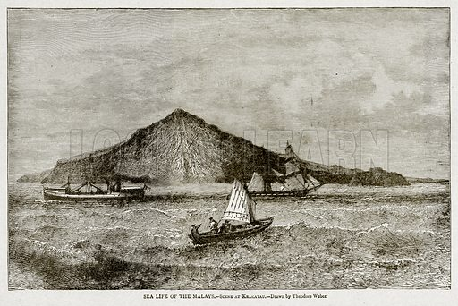 Sea Life of the Malays.--Scene at Krakatau. Illustration from With the World