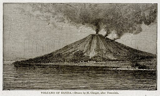 Volcano of Banda. Illustration from With the World's People by John Clark Ridpath (Clark E Ridpath, 1912).