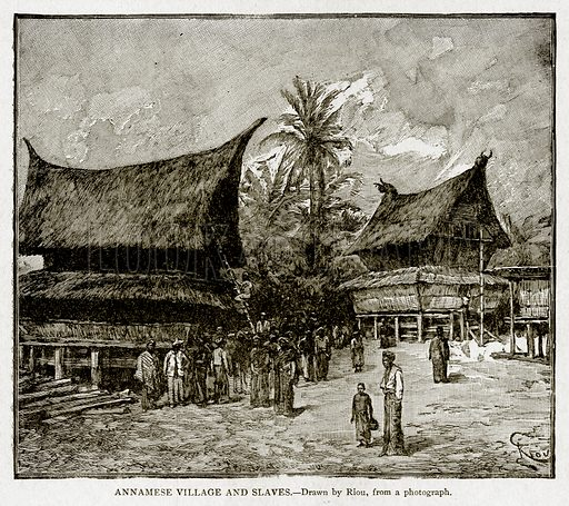 Annamese Village and Slaves. Illustration from With the World's People by John Clark Ridpath (Clark E Ridpath, 1912).