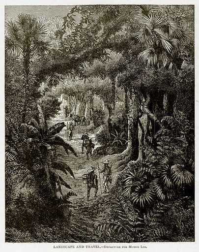 Landscape and Travel. – Departure for Muong Lim. Illustration from With the World's People by John Clark Ridpath (Clark E Ridpath, 1912).